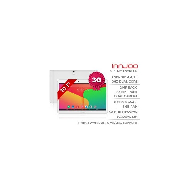 Innjoo F2 Dual Sim Tablet - 10.1 Inch, 8GB, 3G, Wifi, White
